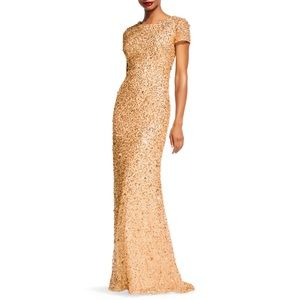 Sz 2 Adrianna Papell Formal Sequin Gown Gold